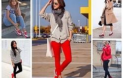 С чем носить красные женские кроссовки? Примеры одежды к женским красным кроссовкам с разного цвета подошвами. Топ 5 образов.