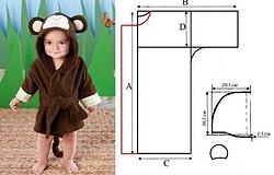 Выкройка детского халата с капюшоном для девочки: с капюшоном, на молнии. Построение лекал (махровый халат с капюшоном, на молнии, трапецией и др.)