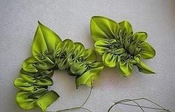 Как сделать листочки из атласной ленты? Пошаговое изготовление простого листа, листа для розы, гофрированного и большого листа.
