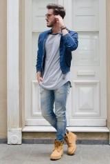Мужские джинсы скинни с полуботинками